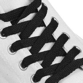 Шнурки для обуви плоские, 8 мм, 120 см, цвет чёрный Ош