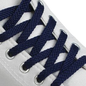 Шнурки для обуви плоские, 8 мм, 130 см, пара, цвет синий