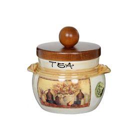 Банка для сыпучих продуктов с деревянной крышкой «Натюрморт», чай, 500 мл