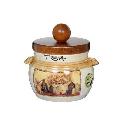 Банка для сыпучих продуктов с деревянной крышкой «Натюрморт», чай, 500 мл - Фото 1