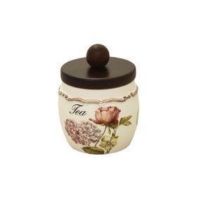 Банка для сыпучих продуктов с деревянной крышкой «Садовые цветы», чай, 500 мл