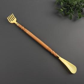 Чесалка с ложкой, деревянная, цвет жёлтый
