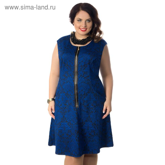 Сарафан женский, размер 52, цвет синий, чёрный