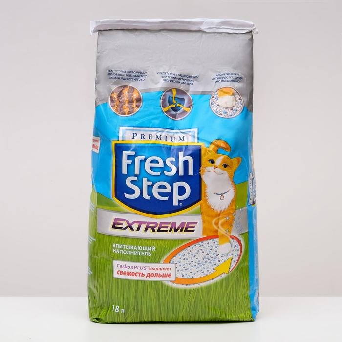 Наполнитель Fresh Step впитывающий, тройной контроль запахов для кошек, 18 литров
