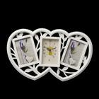 """Часы настенные, серия: Фото, """"Сердечки"""", белые, 2 фоторамки, 29х47 см, микс"""