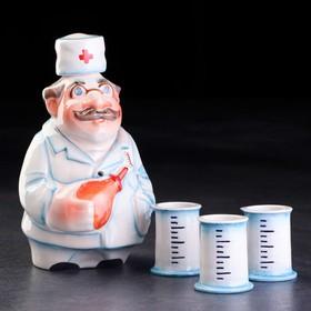 Набор фарфоровый: штоф «Доктор», 0.5 л + 3 рюмки