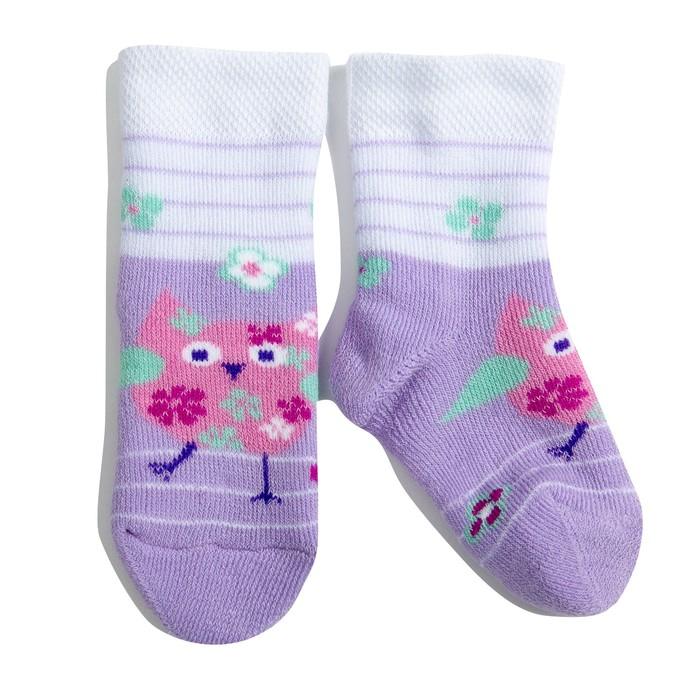 Носки детские плюшевые С729 цвет сиреневый, принт МИКС, р-р 10-11