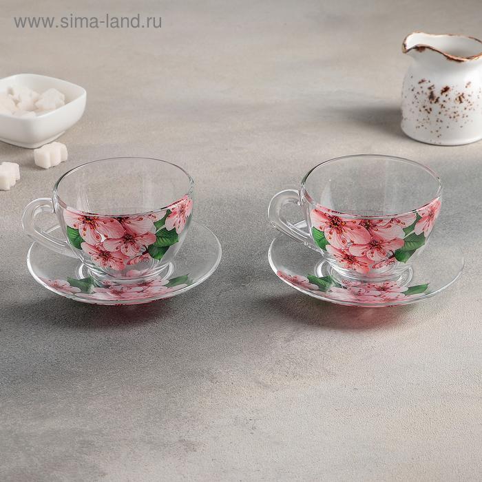 "Набор чайный подарочный на 2 персоны ""Дуэт. Сакура"": 2 чашки 200 мл, 2 блюдца"