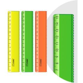 Линейка 15 см «Стамм» с волнистым краем, NEON, микс