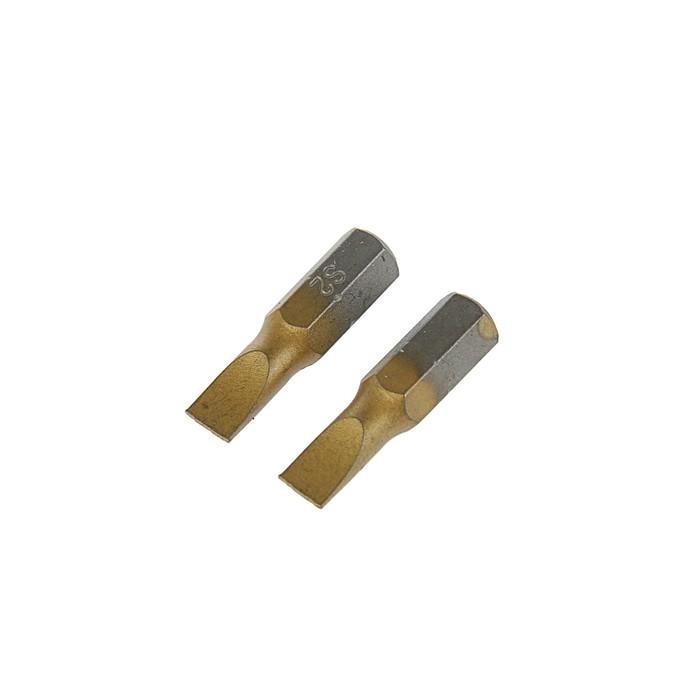 Биты TUNDRA, намагниченные, сталь S2, TiN, SL5 х 25 мм, 2 шт.