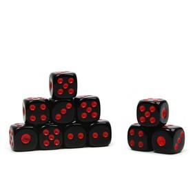Кости игральные 1.2х1.2 см, черные, красные точки, фасовка 100шт Ош