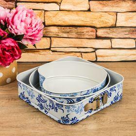 Набор форм для выпечки разъёмных «Филиси», 3 шт: 26 см, 23 см, 27 см, с антипригарным покрытием