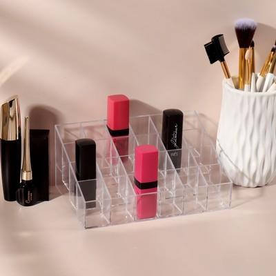 Органайзер для маникюрных/косметических принадлежностей, 24 секции, 16,6 × 11,8 × 7,3 см, цвет прозрачный - Фото 1