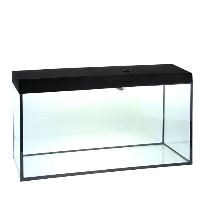 Аквариум прямоугольный с крышкой, 400 литров, 145 х 50 х 55/62 см, чёрный