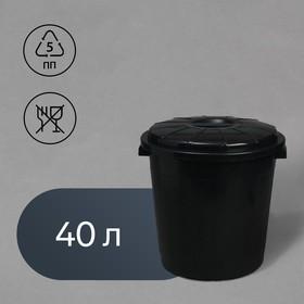 Бак хозяйственно-бытовой, 40 л, с крышкой, чёрный Ош