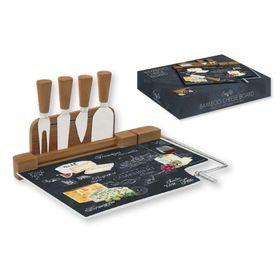 Набор для сыра: разделочная доска (стекло) + 4 ножа