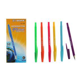 """Ручка шариковая антискользящий корпус Beifa АА 110В """"Яркое цветное ассорти"""", металлический наконечник, стержень синий, узел 0,7 мм, микс"""