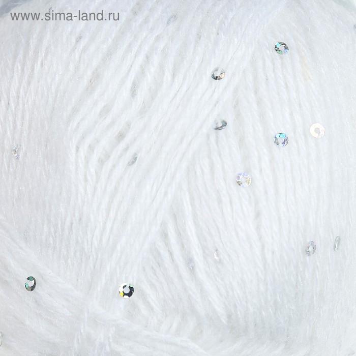 """Пряжа """"Angora Gold Star"""" 67% акрил,17% шерсть,11% ПЭ, 5% пайетки  410м/100гр (55 белый)"""