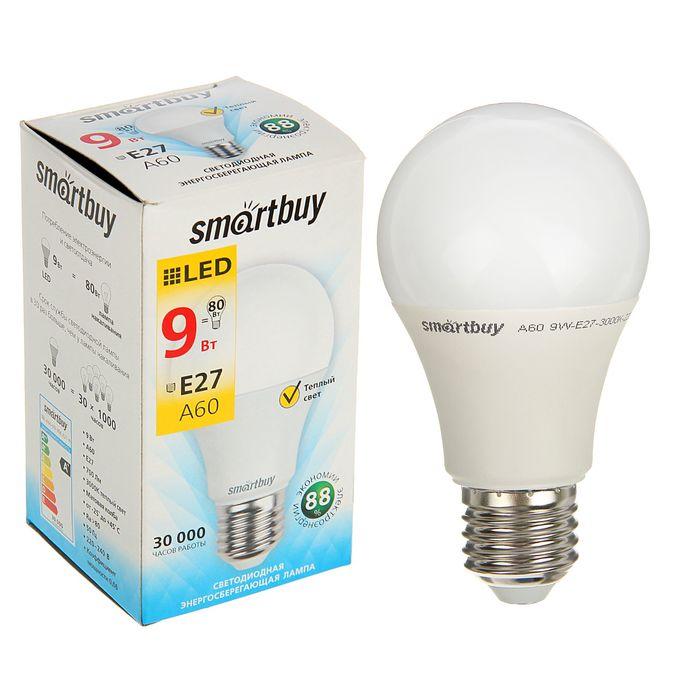 Лампа cветодиодная Smartbuy, A60, E27, 9 Вт, 3000 К, теплый белый свет
