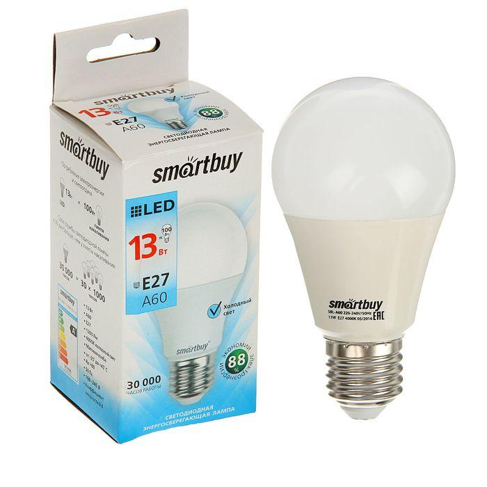 Лампа cветодиодная Smartbuy, A60, E27, 13 Вт, 4000 К, дневной белый свет