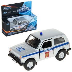 Машина металлическая Lada 4x4 «Полиция», открываются передние двери, инерционная, 1:36