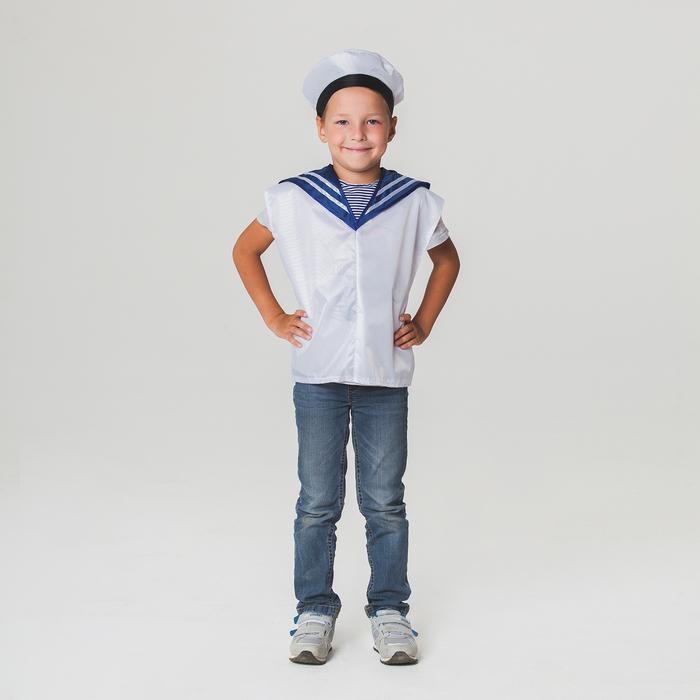 Детский карнавальный костюм Моряк, жилет, бескозырка, 4-6 лет, рост 110-122 см