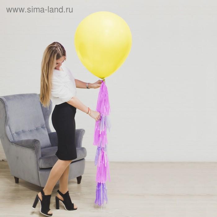 """Воздушный шар, 24"""", с тассел лентой, открытка, жёлтый"""