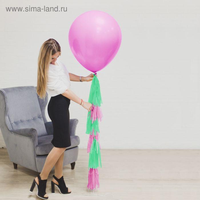 """Воздушный шар, розовый, с тассел лентой, 24"""""""