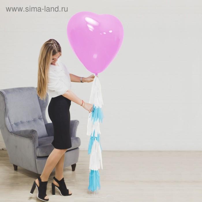 """Воздушный шар """"Сердце"""", 24"""", тассел лента, открытка, розовый"""