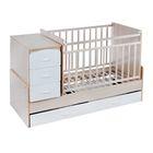 Детская кровать-трансформер СКВ-9 «Птички» на маятнике, цвет берёза/белый