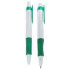 Ручка шариковая, автоматическая, корпус белый с зелёным резиновым держателем, стержень синий