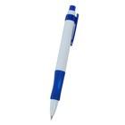 Ручка шариковая, автоматическая, корпус белый с синим резиновым держателем, стержень синий 0.5 мм