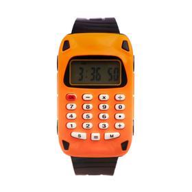 Часы наручные детские 'Машинка', электронные, ремешок силикон, с калькулятором, микс l=22 см Ош