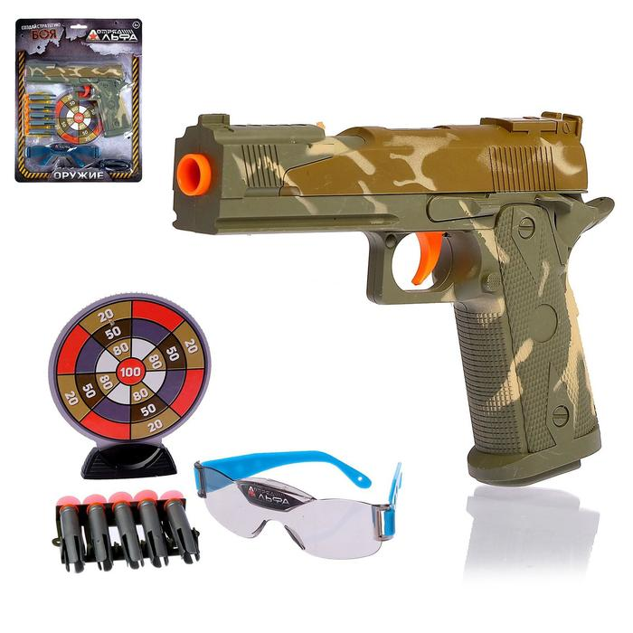 """Пистолет """"Глок"""", с мишенью и очками, стреляет присосками"""