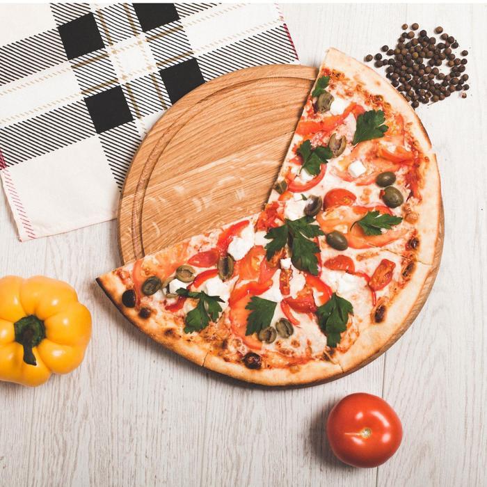 """Доска разделочная, для подачи """"Для пиццы"""", 30 см, массив дуба, ясеня"""