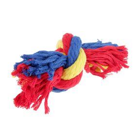 Игрушка канатная 'Веревка' Зооник, ф16, 1 узел, 12-14 см, микс Ош