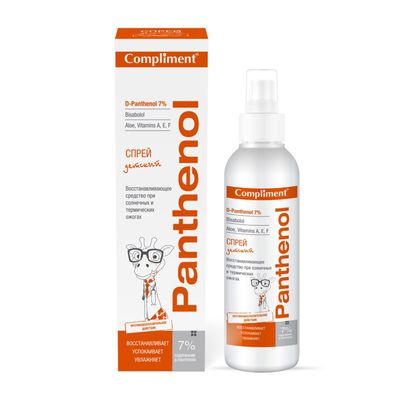 Восстанавливающий спрей для детей Compliment Panthenol 3+, при солнечных и термических ожогах, 150 мл