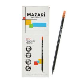 Карандаш чернографитный Mazari Diver, HB, пластиковый, с ластиком