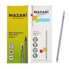 Карандаш чернографитный MAZARI HB шестиганный пластиковый Syber R, с ластиком