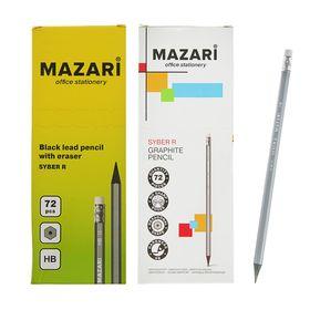Карандаш чернографитный Mazari HB шестигранный пластиковый Syber R, с ластиком