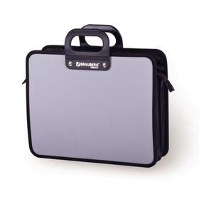 Портфель пластиковый А4 BRAUBERG «Премьер», 390 х 315 х 120 мм, 3 отделения, на молнии, серый Ош