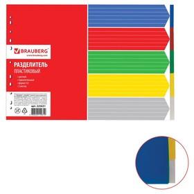 Разделитель пластиковый А3, 5 листов, без индексации, горизонтальный, цветной Ош