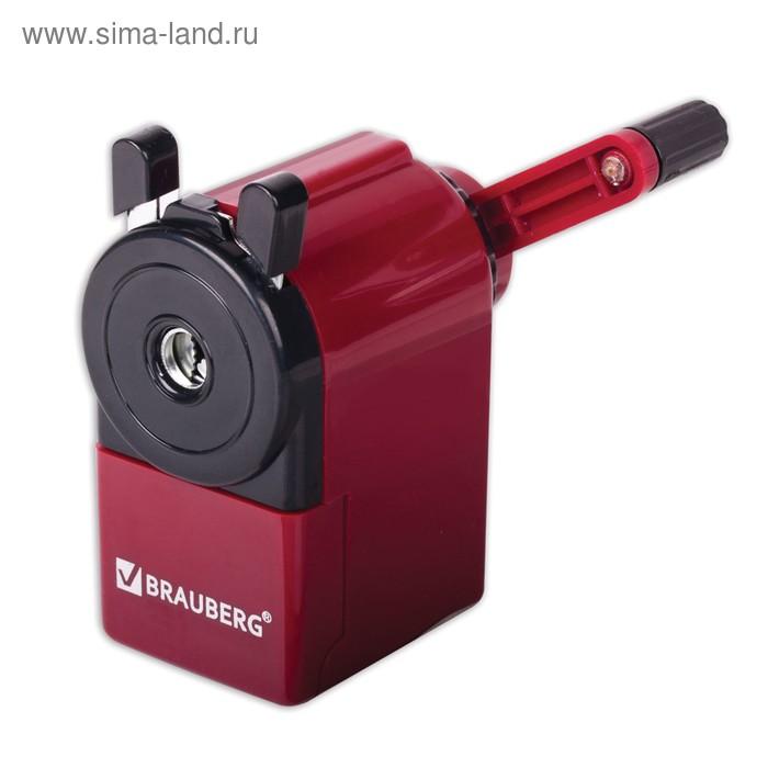 Точилка механическая BRAUBERG, чёрный/бордовый