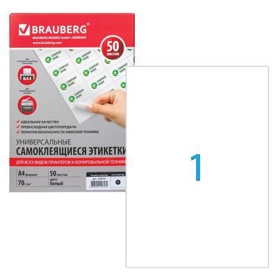 Этикетка самоклеящаяся на листе формата А4, 1 этикетка, 210 х 297 мм, белая, матовая, 50 листов