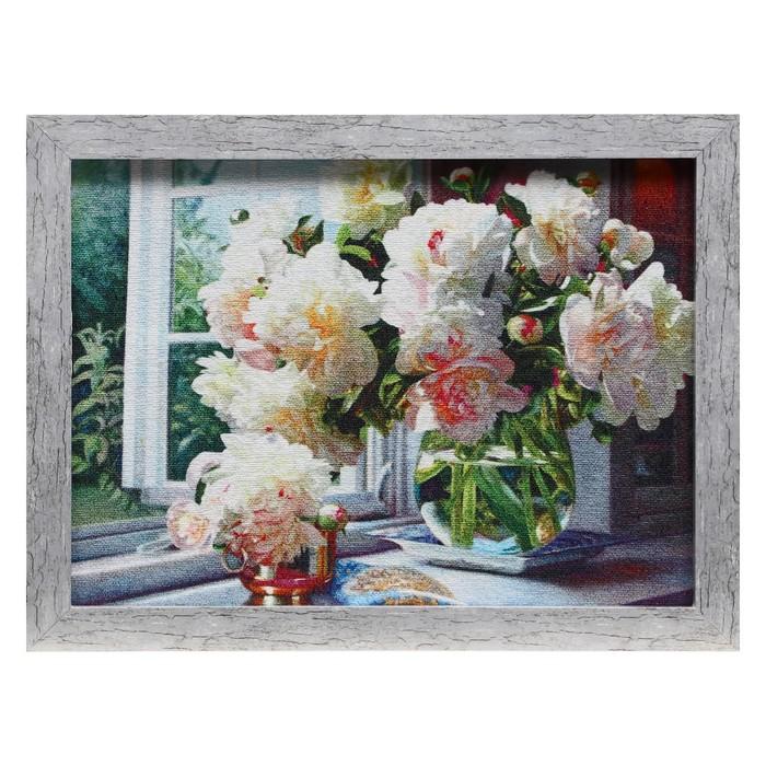 Гобеленовая картина Пионы на окне 3443 см