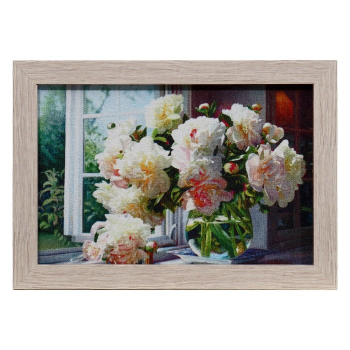 Гобеленовая картина Пионы на окне 2635 см рамка МИКС