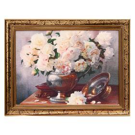 Гобеленовая картина 'Розы белые' рама микс Ош