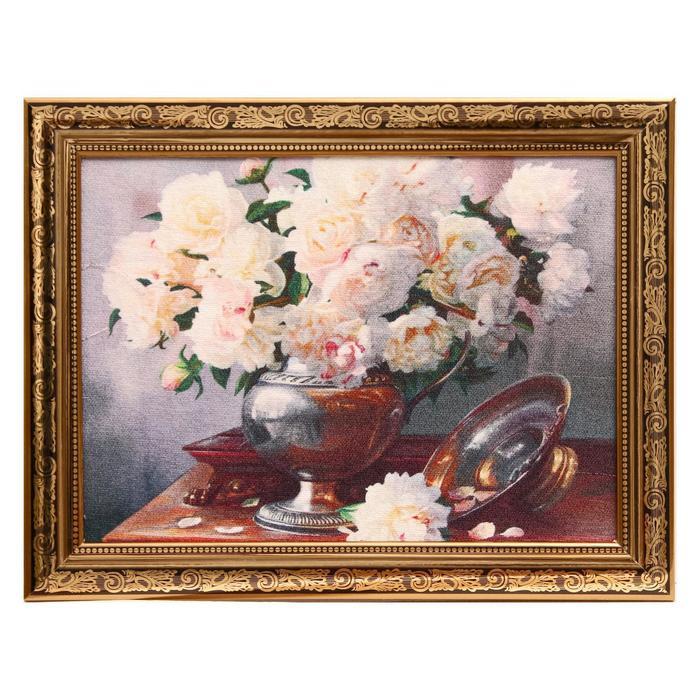 Гобеленовая картина Розы белые 3444 см рамка МИКС