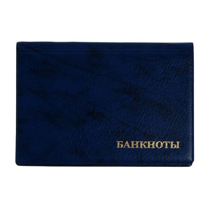 Альбом для бон, 125 х 185 мм Calligrata, на 16 банкнот, обложка искусственная кожа, синий