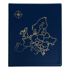 Альбом для монет, на кольцах, Оптима 230х265 мм, входит до 20 листов, обложка ПВХ, «Карта», микс Ош